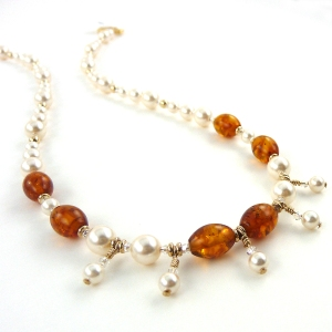 Pearlescent Amber necklace