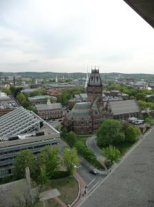 Bird's eye view of Boston area, from the top of a Harvard building